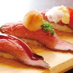 川西の和がや - 自家製ローストビーフは、お寿司にしても大満足。