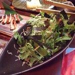 90151275 - 比叡ゆばと新鮮野菜のサラダとイカの炭火あぶり焼き