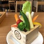 Hachigohan - *「オクラ(半分)」「ヤングコーン」「大根」「人参」「パブリカ」などが彩よく盛られていますね。 バーニャカウダソースで頂くのが一番好みでした。