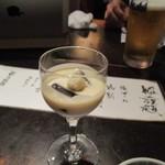 居座火家 喜人 - 料理はお洒落なグラスに入った玉子豆腐料理から始まりました。