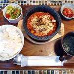 コッテジ - 石焼チーズタッカルビランチ(辛目;ご飯大盛り)