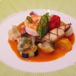 オテル・ド・ヨシノ - 和歌山のスズキのポワレ、夏野菜のバリグール風