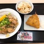 とにかく とに麺 - 鶏ぶっかけ&タケノコご飯&アジフライ