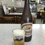 みどり食堂 - ドリンク写真:瓶ビールは、大・中・小があり、これは中びんです(2018.8.2)