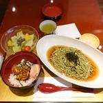 麻布茶房 - サービスランチCセット煎茶そばと焼鳥丼1,200円