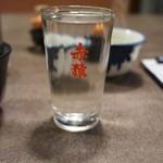 うなぎの末よし - 焼酎コップお湯割り(190円)