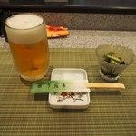 う我寿 - 生ビール & 付き出し