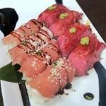 90234904 - シェフおススメの肉寿司2種盛り合わせ