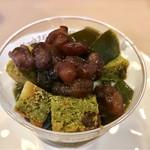 カトレア - ブラウニーとゼリーの抹茶パフェ@抹茶ブラウニーは小豆と栗入り、チョコレートブラウニー、あんこ、抹茶ゼリー、 さわやかと見せてなかなかヘビーな一品