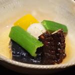 御料理 堀川 - 炊き合わせ 芋タコ南京、オクラ