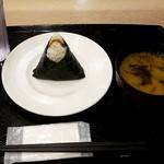 ほんのり屋 - 牛たん青唐味噌むすび:350円、味噌汁:160円