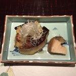 大三 - 焼き物はマナガツオの西京焼き、絹皮茄子、あわびです