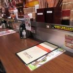 いきなりステーキ - お店は立食が基本ですが奥にはテーブル席も用意してありました。  私は入口近くのカウンターを使って立ち食いの夕食です。