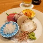 料理屋ENAKA - お造りは白海老、子持ち蝦蛄、水ダコ、平貝、雲丹、鮪