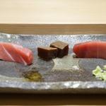 寿司割烹 魚紋 - 鮪の食べ比べ