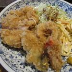 まるや - ミックスフライ定食(アップ)