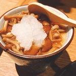 肉の炭火焼と土鍋ごはん だんらん居酒家HANA - 茶碗蒸し おろしなめ茸乗せ^^;