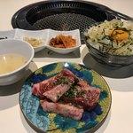 焼肉 六区 - ハラミ定食 ¥1,000 + ねぎたま飯 ¥150