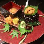海老の髭 - 雲丹食べ比べ(ムラサキとバフン) 1,280円