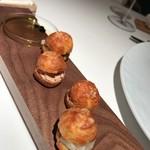 レストラン ラリューム - 森林鶏白レバー・活帆立のタルタルを詰めたグジェール