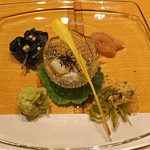 ふじ原 - 料理写真:お通し  金時草のお浸し、烏賊の鯛ワタ和え、万願寺唐辛子の煮びたし、蟹とアボカドのタルタル仕立て、白芋茎のお浸し 玉蜀黍の新芽と共に
