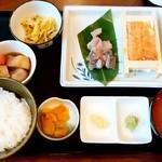 池のや - 池のや@勝ちどき うに・あじ刺身定食(1000円)