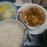 松屋 - ケイジャンチキン定食大盛りポテサラ付き