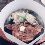 肉のはせ川 - ハーフポンドステーキ225g/¥1180 思ったより肉の味が薄い、です…