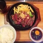 京都ダイニング正義 - アンガス牛ステーキ300g ご飯お味噌汁付セット(税抜1300円)