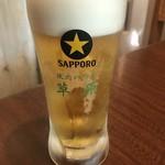 焼肉ハウス草原 - 生ビール黒ラベル¥400