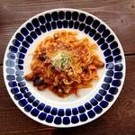 90453916 - 茄子と挽肉のピリ辛トマトソース