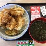 さん天 - 料理写真:鶏たま天丼 みそ汁付 上から