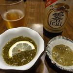 磯料理ヨット - 定食前 もずく酢と牡蠣の塩辛