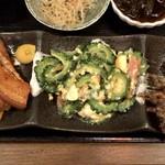 Champuruya - ちゃんぷるぅ家御膳 ¥1,250 の天ぷら、ゴーヤチャンプル、ラフテー