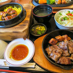 加里部 - 「うなぎ釜飯とサイコロステーキのセット」(1,580円+税)。 土日限定メニューだそうです。