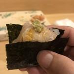 旬美にしかわ - イカと雲丹の手巻き寿司