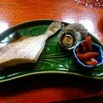 山中荘 - カワハギの焼き物 サザエのつぼ焼き