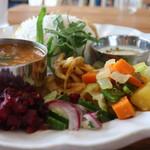 90500091 - ビーツのセサミポリヤル、コスマリ、玉ねぎのアチャール、夏野菜のトーレン