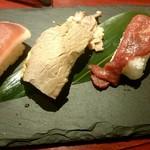 焼肉RESTAURANT カンドカン - 肉寿司  左から鴨、牛、馬