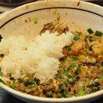 濃厚担々麺はなび 蟹江店 - なんとか麺を完食して 意地の『追い飯』  汚い絵ずら m(_ _)m