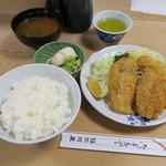 大衆割烹 三州屋 - アジフライ定食(ご飯 なめこと豆腐の味噌汁 お新香付き)