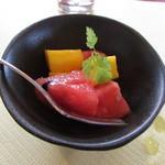ステーキハウス 秀 - デザート~マンゴーとスイカ