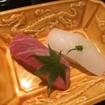 卓楽 - とろ、いかの握り寿司
