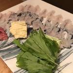 卓楽 - 鱧しゃぶ、京水菜、榎木、湯葉