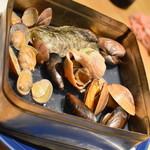 魚や一丁 - 5種の貝のガンガン焼き(1,280円+税)2018年7月