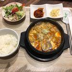 麦庵 - 海鮮ズンドゥブ定食 1000円