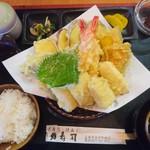 力寿司 - 平日限定定食       天婦羅定食1300円(税込)       豪華!