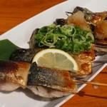 とろさば料理専門店 SABAR - 鯖串焼き 塩、ガーリック ネギ塩 おろし 柚子