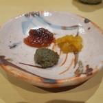 90567417 - ますこの味噌漬け 白海老と雲丹の塩辛 鮎のペースト