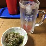 串の末広 - お通し、酎ハイ梅¥450。意外にするね